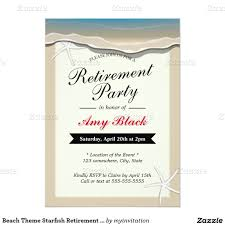 Retirement Function Invitation Card Beach Theme Starfish Retirement Party Invitation Retirement