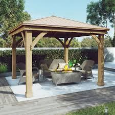 Outdoor Patio With Roof by Cedar Wood 12 U0027 X 12 U0027 Gazebo With Aluminum Roof By Yardistry