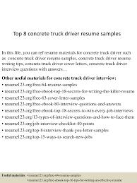sample resume truck driver top8concretetruckdriverresumesamples 150717054217 lva1 app6891 thumbnail 4 jpg cb 1437111787
