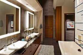 Bathroom Mirror With Lights Built In by Bathroom Ideas Two Mirrors With Lights Above Double Sink Bathroom