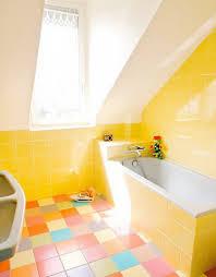 amusing yellow bathroom floor tile in modern home interior design