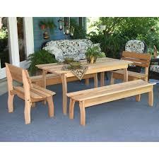 Wood Patio Furniture Sets - creekvine designs cedar family picnic table set hayneedle