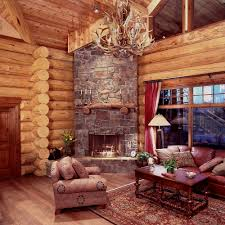 decor log cabin decor with sofas and wooden table also wooden log cabin decor with sofas and wooden table also wooden floor and carpet decorating chandeliers resemble deer antlers fireplace glasswindow stone wall
