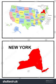 New York Map Us by Full Color Map United States America Stock Illustration 28809772