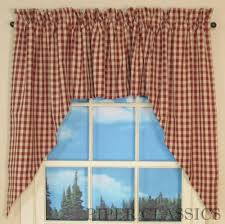 country straight valance curtains heritage house barn red pattern