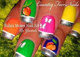 opi tru neon nails diy hand painted peaches nail art design