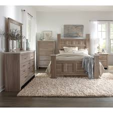 Art Van Piece Queen Bedroom Set Bedrooms Weathered Wood And - 7 piece king bedroom furniture sets