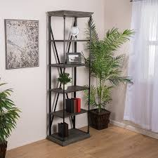 amazon com brennon 5 shelf industrial dark tan grey wood