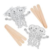 color your own skeleton stick puppets orientaltrading com