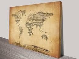 World Map Canvas by World Map Vintage Sheet Music Art By Michael Tompsett
