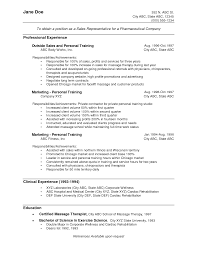 Example Resume  Professional Experience And Personal Training For Marketing And Clinical For Sales Objective For