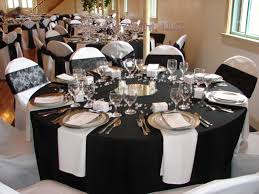 Black Blue And Silver Table Settings Black And White Table Settings Home Decorating Inspiration