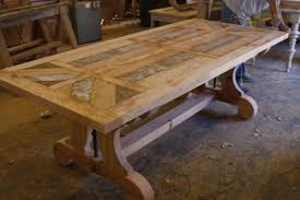 Custom Trestle Dining Table With Leaf Extensions Built In - Barnwood kitchen table