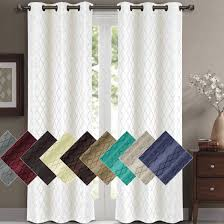 Blackout Curtain Panels Willow Geometric Thermal Blackout Grommet Top Curtain Panels Pair