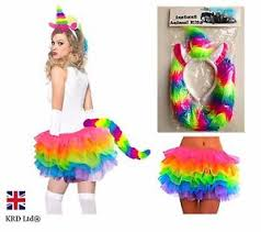 Unicorn Halloween Costume Ladies Rainbow Magical Unicorn Halloween Fancy Dress Tutu Girls
