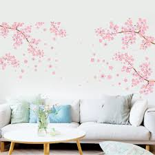 large flower wall decals gardens and landscapings decoration popular extra large flower wall decals buy cheap extra large extra large pink flowers tree branch living room sofa tv background wall decor poster