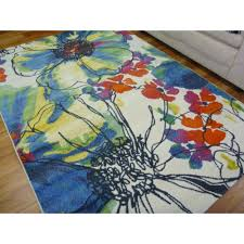 Funky Rugs Contemporary Modern Floor Area Rugs Intrend Flowers Bright
