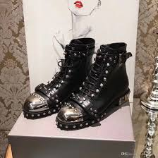 motorcycle biker boots 2017 brand cowboy boots womens leather rivets studs punk
