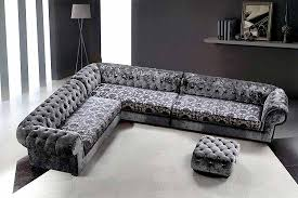 gray color microfiber tufted sectional sofa with ottoman in living