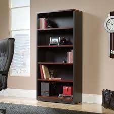 sauder via four shelf bookcase cherry finish and black accents