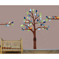 Bedroom Wall Decals Trees Green And Blue Shelving Stickers Tree For Nursery Or Baby Room