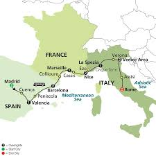 Map Of France And Spain by Cosmos Tours Mediterranean Flavors 2016