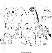 vector coloring page of a lineart elephant tortoise gorilla
