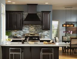 blue gray kitchen with dark cabinets in grey oaks naples florida