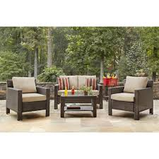 Deep Seat Patio Chair Cushions Hampton Bay Beverly 4 Piece Patio Deep Seating Set With Beverly