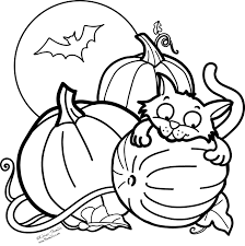 halloween cat line art archives gallery coloring page