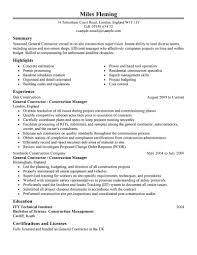 General Sample Resume General Contractor Resume General Contractor Resume We Provide