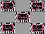Hot Pink Zebra Print FAITH Hope LIVE Love by collagebycollins