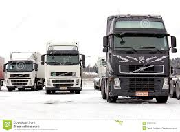 volvo freight trucks group of volvo trucks in winter conditions editorial stock photo