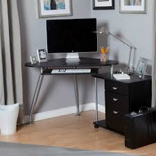 Computer Desks Black by Corner Computer Desk With Triangular Shaped Also 3 Curve Grey