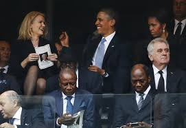 President Barack Obama talks with Danish prime minister, Helle