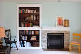 family room update fireplace bookshelf and window improvements