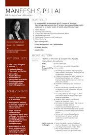 Recruiting Resume Examples by Google Resume Samples Visualcv Resume Samples Database