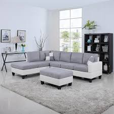 White Furniture For Living Room Amazon Com Classic Two Tone Large Linen Fabric And Bonded Leather