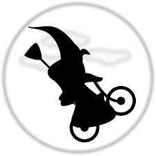 halloween vector art witch flying on a bicycle free halloween vector clipart illustration
