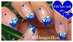 blue french tip nail art floral nails diseño uñas francés