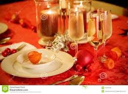 elegant christmas table setting in red and gold royalty free stock