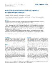 pages Post operative respiratory distress following primary cleft palate repair pdf Course Hero