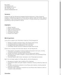Sample Of Receptionist Resume by Professional Gym Receptionist Templates To Showcase Your Talent