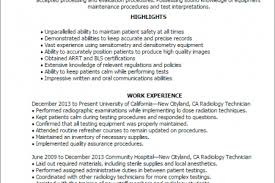 Sample Medical Technologist Resume by Ct Technologist Resume Reentrycorps