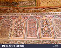 moroccan style colorful wall decoration in bahia palace of
