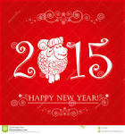 Funny Sheep Bright Red Wide Happy New Year Chi #13008 Wallpaper.