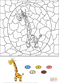 funny cartoon giraffe color by number free printable coloring pages