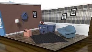 living set cartoon living room and bathroom set 3d model cgtrader
