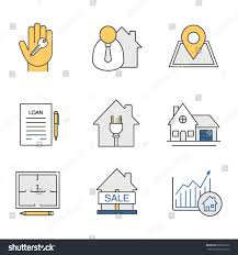 real estate market color icons set stock vector 666915916