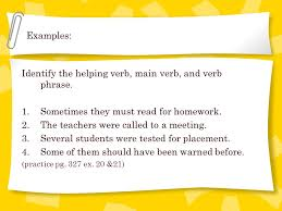 VERBS Verb   words that name an action or describe a state or